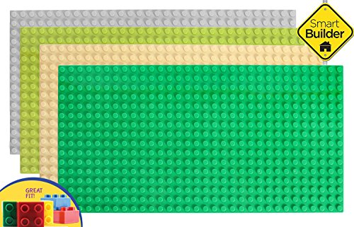 Set of 4 LARGE Building Boards 20''X10'' Duplo Size Blocks Compatible (Only With the bigger size blocks) - 4 Base Set