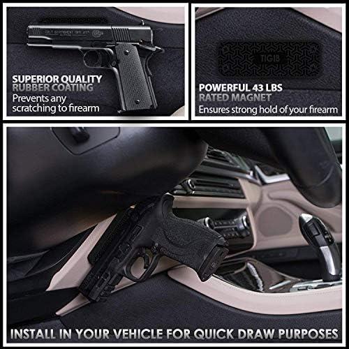 45 lbs Gun Holster Kit Magnetic Mount Slick Handgun Holder for safe wall /& car
