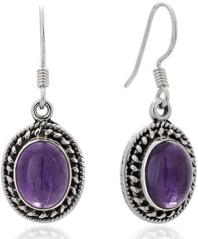925 Oxidized Sterling Silver Natural Gemstone Oval Rope Edge Vintage Dangle Hook Earrings 1.3