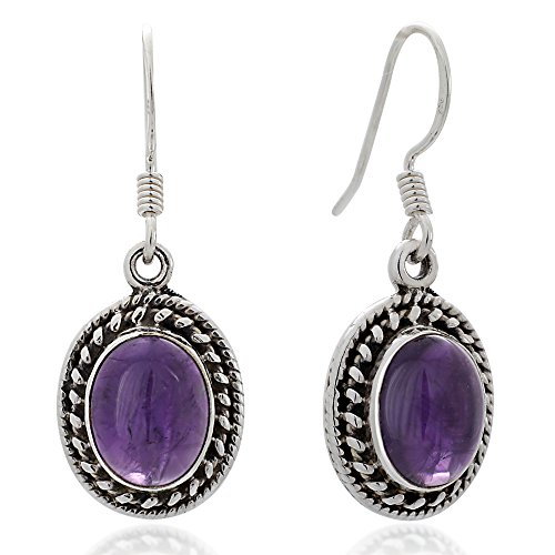 925 Oxidized Sterling Silver Purple Amethyst Gemstone Oval Rope Edge Dangle Hook Earrings 1.3