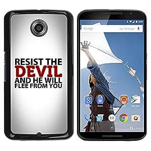 PC/Aluminum Funda Carcasa protectora para Motorola NEXUS 6 / X / Moto X Pro BIBLE Resist The Devil / JUSTGO PHONE PROTECTOR