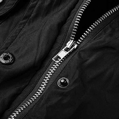 Lâche Parka Style Blouse Chic Outerwear Zyueer Manteau Femme Hiver Avec Fourrure Polaire Capuche Doublée Chemisier Chaud Militaire À Élégant Noir Fleece aFtpzqF