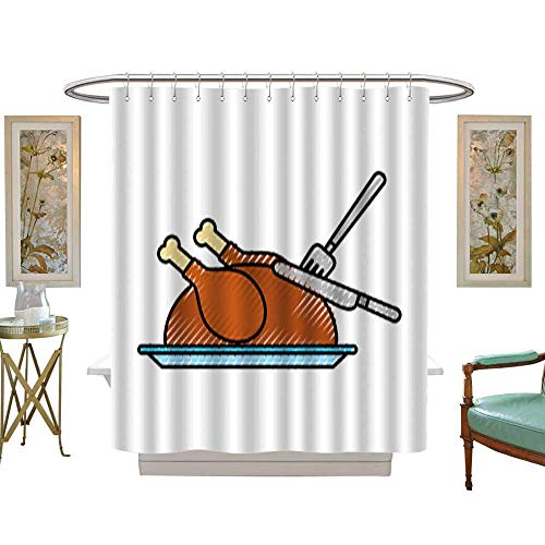 (Iuvolux Tree Four Seasons Shower Curtainturkey Fork and Knife Dinner Food for Thanksgiving Day. Bathroom Sets with Hooks Art Print Polyester Fabric W48 x H84)