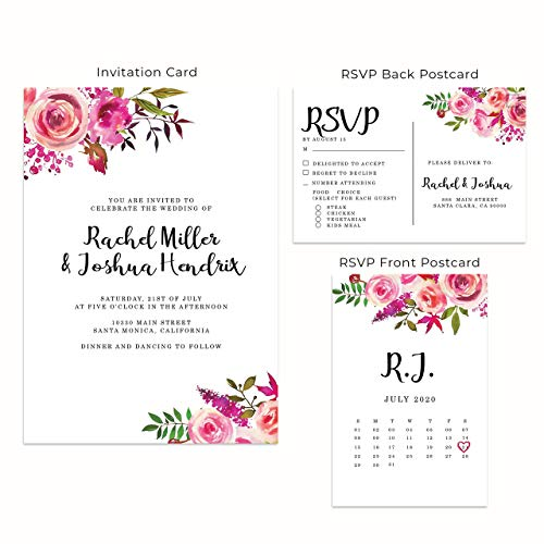 (Wedding Invitation Cards with Matching RSVP Cards and Envelopes Included- Pink Roses Design)