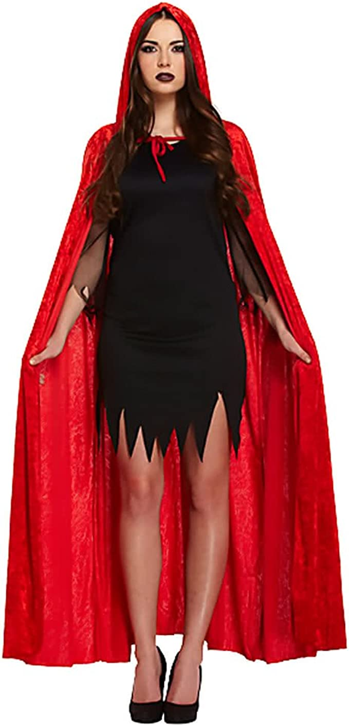 Deluxe Red Velvet Cape with Hood Halloween Gothic Long Red Hooded ...