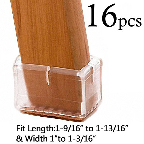 LimBridge Chair Leg Wood Floor Protectors, Chair Feet Glides Furniture Carpet Saver, Silicone Caps with Felt Pads #9, Fit Length 1-9/16
