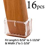 "LimBridge Chair Leg Wood Floor Protectors Silicone Rectangle Fit Length 1-1/2"" to 1-7/8"" (3.9-4.7cm) & Width 7/8"" to 1-1/4"" (2.4-3cm) Clear (Set of 16), Style 9"