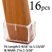 """LimBridge Chair Leg Wood Floor Protectors, Chair Feet Glides Furniture Carpet Saver, Silicone Caps with Felt Pads #9, Fit Length 1-9/16"""" to 1-13/16"""" (3.9-4.6cm) & Width 1"""" to 1-3/16"""" (2.5-3cm) 16 Pack"""