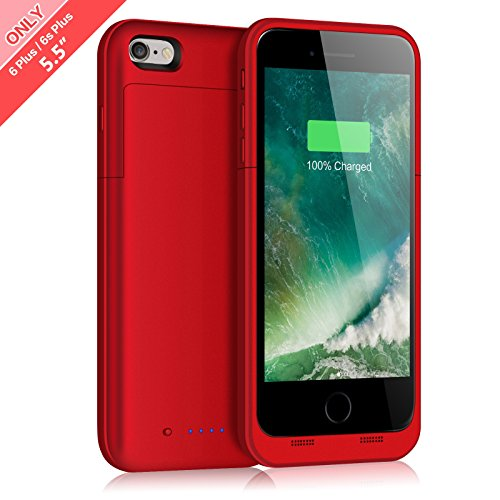 iPhone 6 Plus 6S Plus Battery Case 6800mAh Capacity Extended Battery Power Charger for iPhone 6 Plus 6S Plus 4 LED Indication Ultra Slim Portable Charging Cover - Red