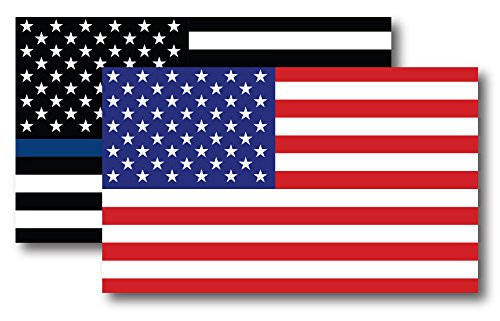 Car Magnet American Flag (Thin Blue Line American Flag Magnet Decal and American Flag Magnet 3x5 - Heavy Duty for Car Truck SUV - 2 Pack - In Support of Police and Law Enforcement Officers)