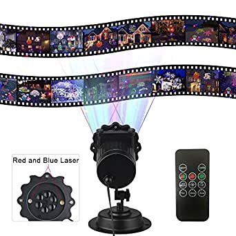 XFUNY Laser Projector Light Bule and Red Laser Stage Light Waterproof Laser Light with 16 Pattern Slides for Christmas, Halloween, Garden, Yard, Stage, Party