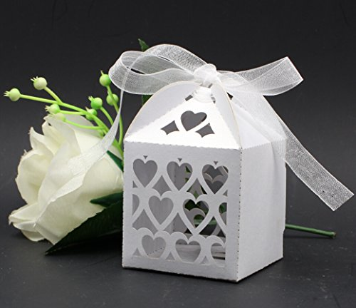 Krismile® Love Heart Laser Cut Candy Gift Boxes,Wedding Party Favor box,heart wedding box,party candy box,wedding favors(with ribbon) by Krismile