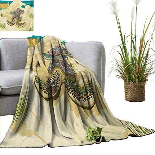 homehot Turtle Living Room/Bedroom Warm Blanket Illustration of Two Sea Turtles on Sandy Summer Beach Boat Grass Bottle All Season Premium Bed Blanket 60