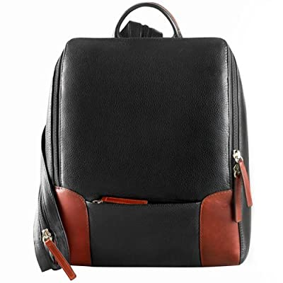 Derek Alexander Backpack Sling with Large Front Open, Black/Brandy, One Size