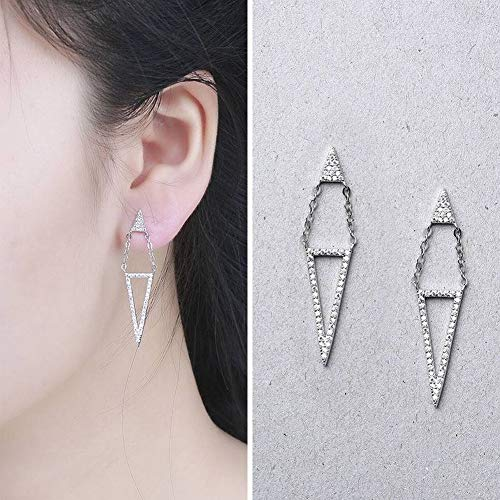 - SHOUSHI Women's Fashion Ol 925 Silver Geometric Plating Stud Earrings S925 Sterling Silver Triangle Hanging Triangle Inlay Stud Earrings Fashion Joker Silver Jewelry, White