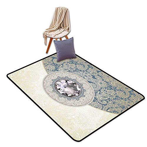 Door Rug for Internal Anti-Slip Rug Diamond Decor Oriental Floral Diamonds with Swirling Branches Ethnic Style Digital Prints W47 xL59 Suitable for Restaurants,Family Rooms,corridors,foyers.