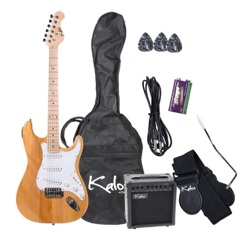 Kalos EGP-NW 39-Inch Electric Guitar with 15-Watt Amp, Gig Bag, 3 Picks, Strap, Amp Cable, and Tremolo Arm – Full Size – Natural Wood