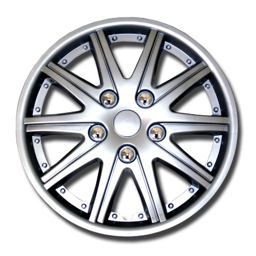 TuningPros WSC-027S15 Hubcaps Wheel Skin Cover 15-Inches Silver Set of 4