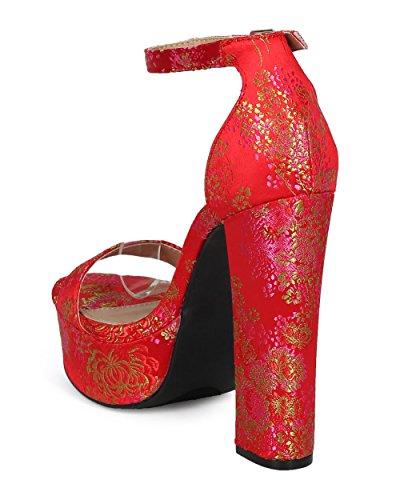 Heel Red Collection HD96 Fahrenheit Women Block Strap Chunky Ankle Brocade by Platform Sandal Heel Embroidered Platform Heel Floral wSqRt