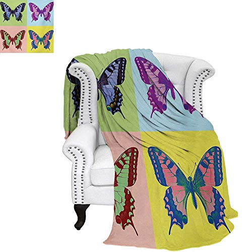 - warmfamily Butterfly Summer Quilt Comforter Pop Art Swallowtail Pavilions Wild Life Transcendent Energies of Miraculous Wings Digital Printing Blanket 70