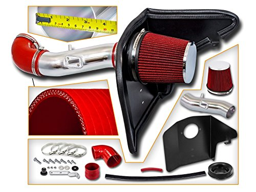 (Cold Air Intake System with Heat Shield Kit + Filter Combo RED Compatible For 12-15 Chevy Camaro V6 3.6L)