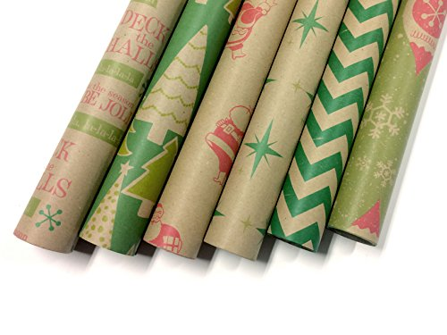 Vintage Christmas Wrapping Paper (Kraft Retro Wrapping Paper Set - 6 Rolls - Multiple Patterns - 30