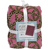 Peace Sign Leopard Print On Pink No-Sew Throw Anti-Pill Fleece Fabric Kit