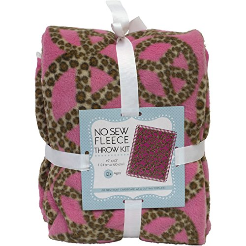Peace Sign Leopard Print On Pink No-Sew Throw Anti-Pill Fleece Fabric Kit by David Textiles