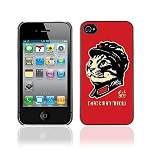 Colorful Printed Hard Protective Back Case Cover Shell Skin for Apple iPhone 4 / 4S ( Funny Chairman Meow Cat Illustration )