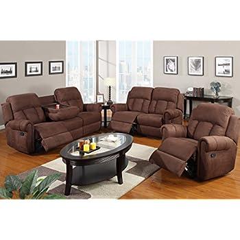 Poundex F7048/F7049/F7050 Chocolate Microfiber Fabric Sofa Set With  Recliners