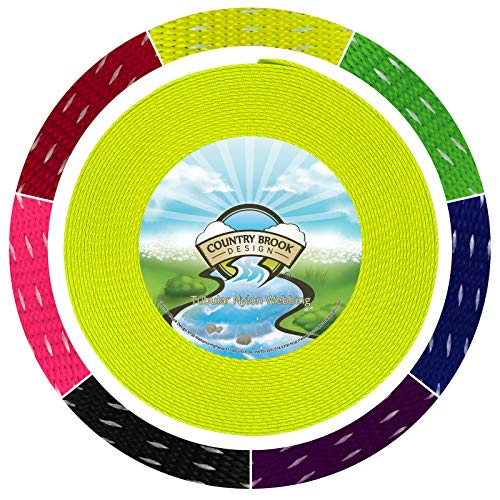 - Country Brook Design 1 Inch Hot Yellow Climbing Spec Tubular Nylon Webbing, 10 Yards