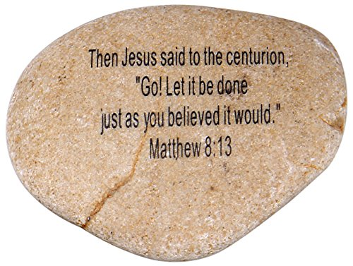 """UPC 741807483244, Extra Large Engraved Inspirational Scripture Biblical Natural Stones collection - Stone IX : Matthew 8:13 : """" Then Jesus said to the centurion, """" GO! Let it be done just as you believed it would be."""
