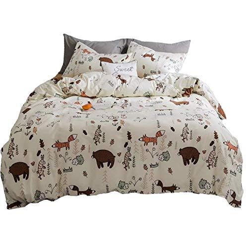 Bedding Set Fox Rabbit Forest Duvet Cover Sets Kid Boys Tree Queen Size Sets Girls Baby Cotton Reversible Soft Durable and Lightweight 3 PCS Zipper Closure 2 Envelope Pillowcases ()