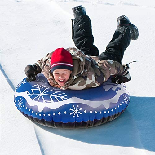 Neteast Snow Tube 47 Inch Inflatable Snow Sled for Kids Durable Thickening Bottom with high Handles Heavy Duty Snow Tube for Sledding Adults