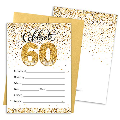 60th Birthday Party Invitation Cards with Envelopes, 25 Count (White and Gold) -