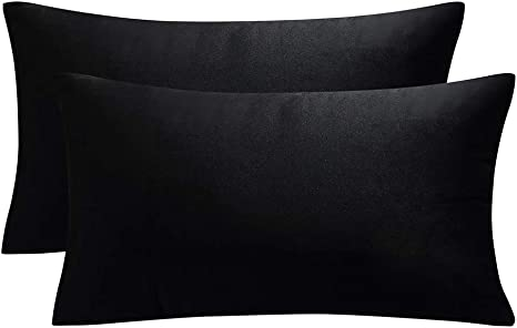 juspurbet decorative lumbar velvet throw pillows covers for couch bed sofa pack of 2 soild soft cushion cases 12x20 inches black