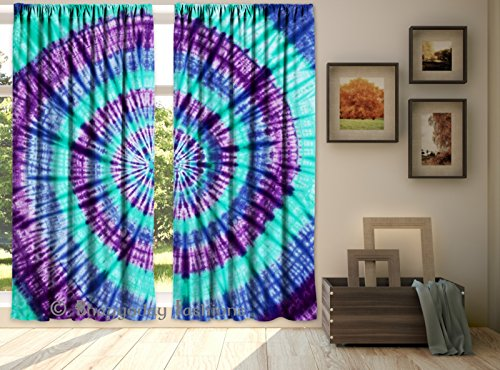 Indian Mandala Shibori Tie Dye Waves Designer Hippie Curtains 2 PC Set Window Door Hanging Valances Hippie Bohemian Wall Decor Room Divider By Shree J…