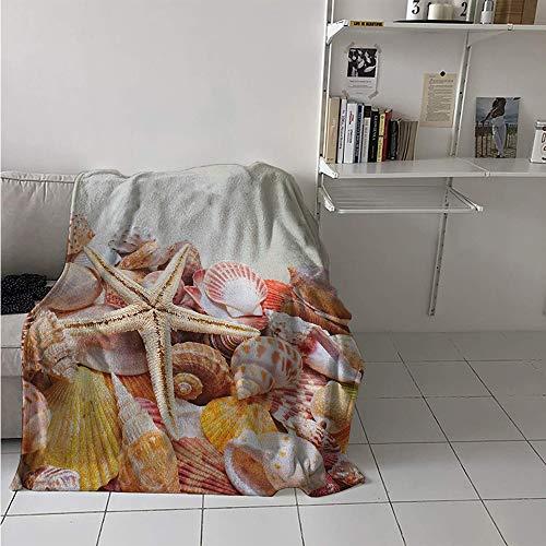 (Maisi Lightweight Blanket, Pile of Seashells Nature Collection Beach Theme Sea Starfish Spiral, Throw Blanket for Kids 50x30 Inch Coconut Cream Orange)