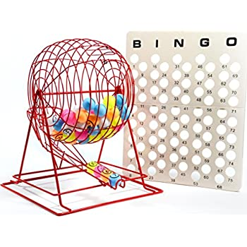 Image of Bingo Sets Regal Games Jumbo Professional Red Bingo Cage with Multicolor Ping Pong Bingo Balls