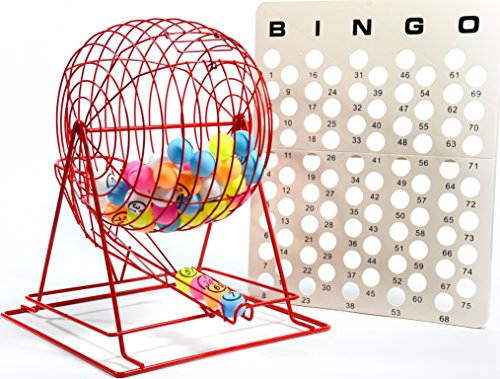 ofessional Red Bingo Cage with Multicolor Ping Pong Bingo Balls ()