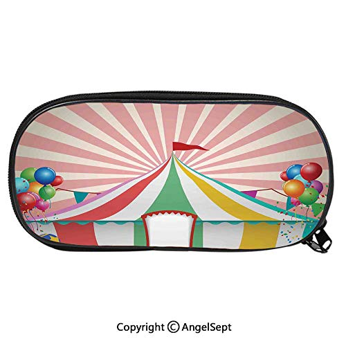 Kid School Pencil BagOld Style Vintage Circus Tent with Baloons Carnival Celebration Performance Animals Artwork Cute Printing Pen Case Adult Office Accessories Pencil HoldersMulti