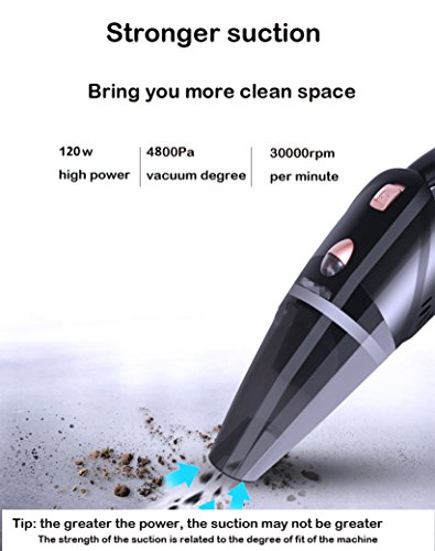 Car Vacuum Cleaner New High Power Suction With LED Light Wet And Dry Auto 4800pa DC 12v Portable Rechargeable Handheld Ergonomic Vacuum For Cars And Home Wash With Cord Hose Attachments And Carry Bag