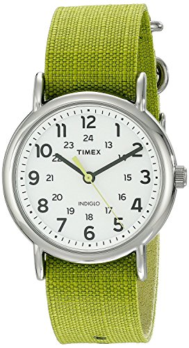 timex-unisex-tw2p659009j-weekender-stainless-steel-watch-with-lime-green-nylon-band