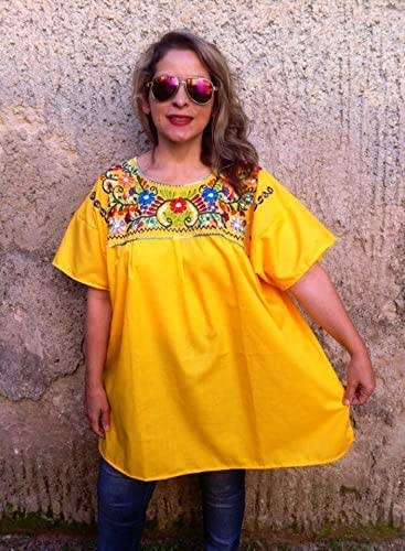 54ef2d3981b Amazon.com  Mexican Blouse Yellow for Women Plus Size  Handmade
