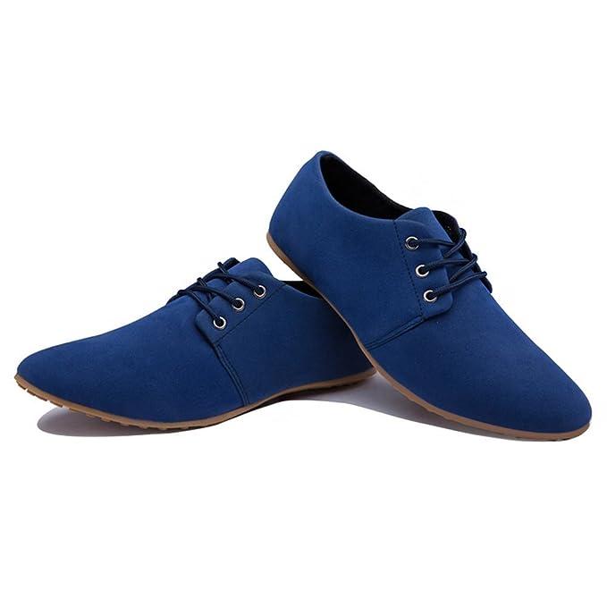 Minetom Hommes Cuir à Lacets Bout Pointu Robe de Mariée D'affaires Casual Low-Top Suede Bateau Chaussures CpmmktJ