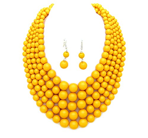 Plastic Beads Necklace Earrings - Women's Plastic Ball Bead Five Multi-Strand Statement Necklace and Earrings Set (Yellow)