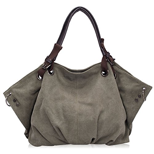 Yipgrace Casual Bag Women's Bag Canvas Solid Army Shoulder Green Color r7nrq5x