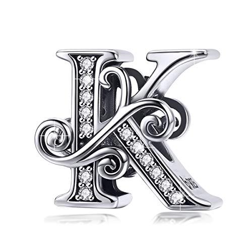 BAMOER 925 Sterling Silver Initial Letter K Charms for Snake Chain Bracelet Necklace Alphabet Beads