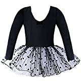 BAOHULU Toddler Girls Leotard Classic Polka Dot Ballet Tutu Dress 2-7 Years B036_Black_XL