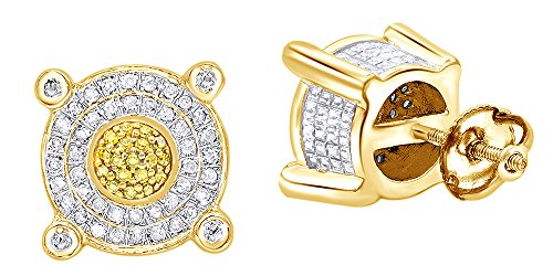 White & Yellow Natural Diamond Circle Stud Earrings In 14k Yellow Gold Over Sterling Silver (0.33 ()